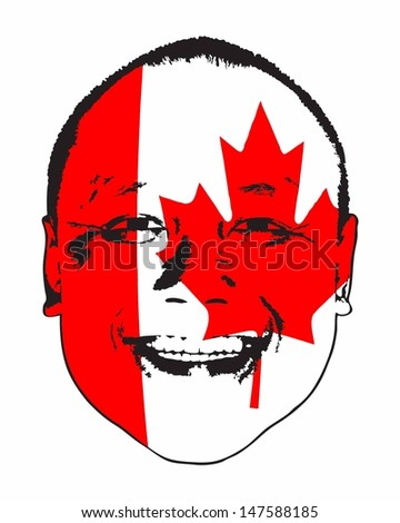 A Canada flag on a face, isolated against white.  - stock vector