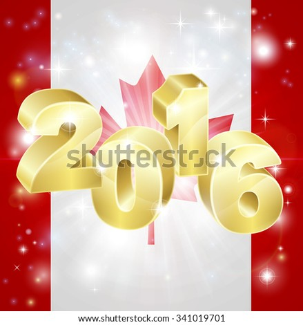 A Canadian flag with 2016 coming out of it with fireworks. Concept for New Year or anything exciting happening in Canada in the year 2016. - stock vector