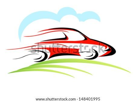 A car on the move-Vector - stock vector