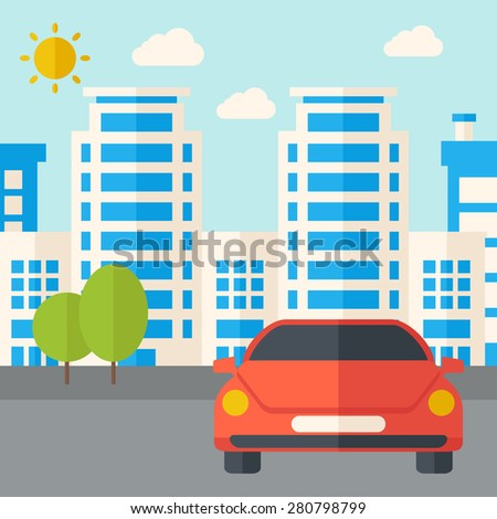 A car park infront of the building. A Contemporary style with pastel palette, soft blue tinted background with desaturated clouds. Vector flat design illustration. Square layout. - stock vector