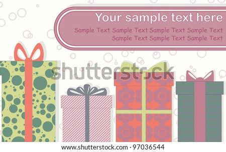 A? card with some gift boxes - stock vector