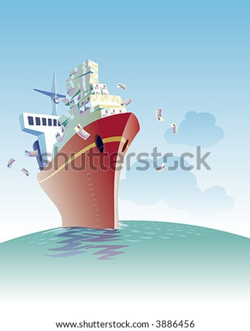 A cargo ship is sailing full of money. - stock vector
