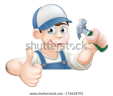 A carpenter or other construction worker holding a hammer and giving a thumbs up while peeking over a sign or banner - stock vector