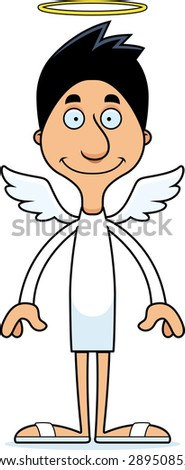 A cartoon angel man smiling. - stock vector