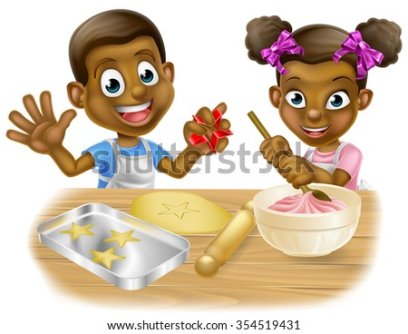 A cartoon black boy and girl children dressed as bakers baking cakes and cookies - stock vector