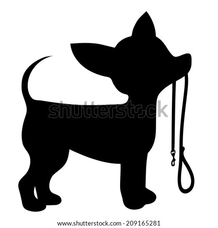 A cartoon black silhouette of a Chihuahua with a leash in its mouth - stock vector