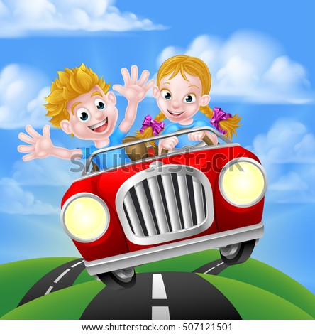 A cartoon boy and girl having fun driving fast in a car on a road trip