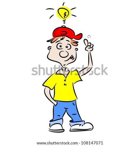 A cartoon boy with a good idea - stock vector