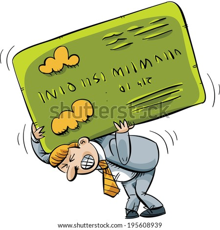 A cartoon businessman struggles to carrying an oversized credit card on his back. - stock vector