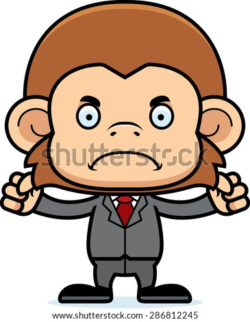 A cartoon businessperson monkey looking angry. - stock vector