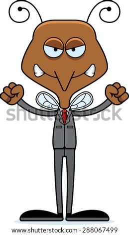 A cartoon businessperson mosquito looking angry. - stock vector