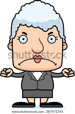 A cartoon businessperson woman looking angry. - stock vector