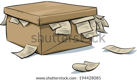 A cartoon, cardboard box with documents spilling out of it.