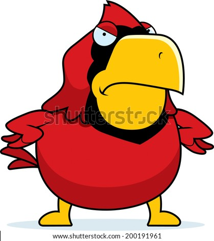 A cartoon cardinal with an angry expression. - stock vector