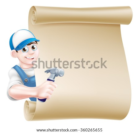 A cartoon carpenter or builder holding a hammer tool and peeking around a scroll - stock vector
