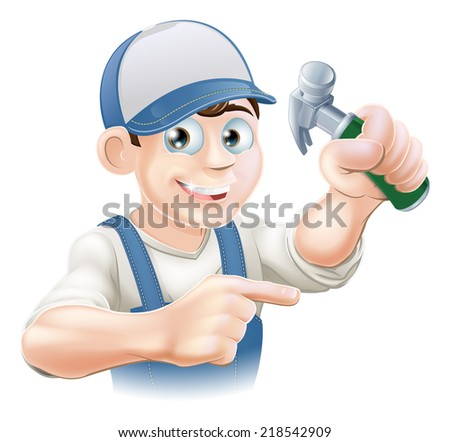 A cartoon carpenter or other construction worker pointing and holding a claw hammer - stock vector