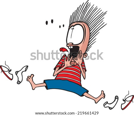 A cartoon child scared out of his socks. Vector file available. Scared out of Socks - stock vector