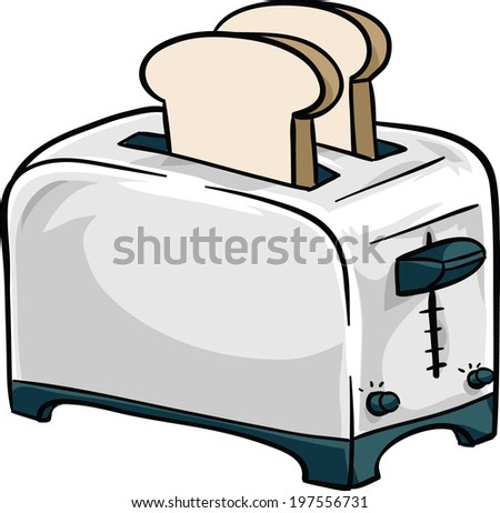 A cartoon, chrome toaster with two pieces of bread in it. - stock vector