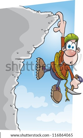 A cartoon climber is in trouble hanging from a cliff - stock vector