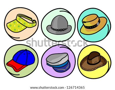 A Cartoon Collection of Six Different Hats and Caps Icon in Circle Frame - stock vector