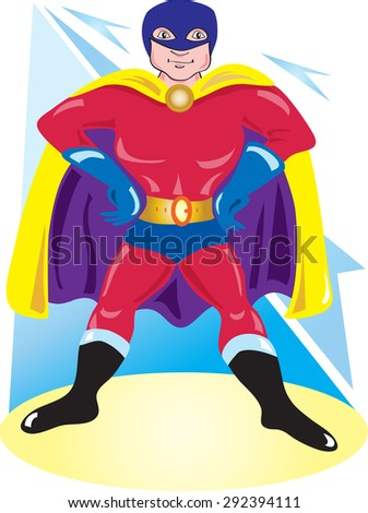 A cartoon comic book superhero with mask and cape