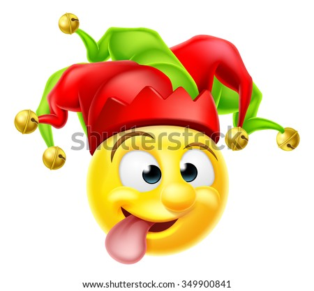 A cartoon court jester clown emoji emoticon character pulling  a funny face - stock vector