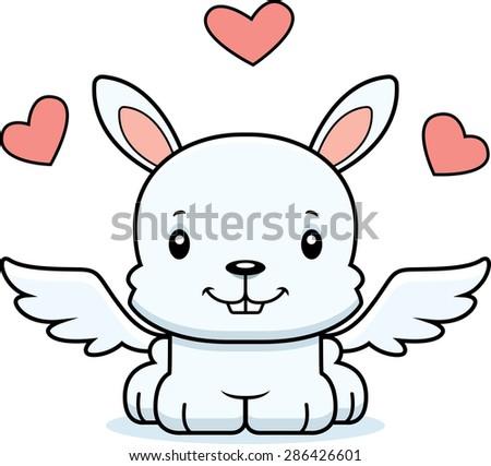 A cartoon cupid bunny smiling. - stock vector