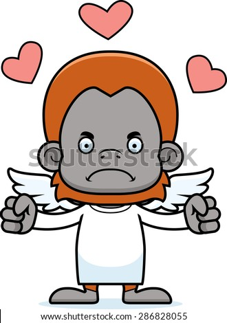 A cartoon cupid orangutan looking angry.
