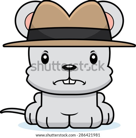 A cartoon detective mouse looking angry. - stock vector