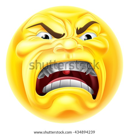 A cartoon emoji emoticon icon looking very angry or furious - stock vector