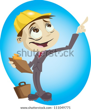 A cartoon engineer surveys his build site. Illustrator .eps v10. Contains some transparency effects. - stock vector