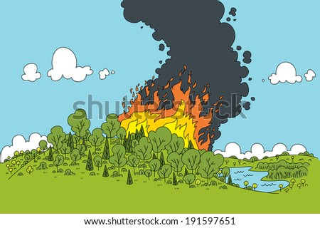 A cartoon fire rages in a green forest.