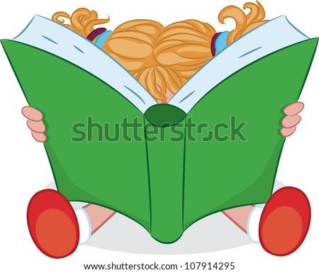 A cartoon girl reading a book. Vector illustration. - stock vector