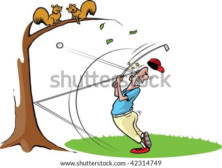 A cartoon golfer getting hit in the head with a ball. Golfer, grass,tree and ball are on separate layers. - stock vector