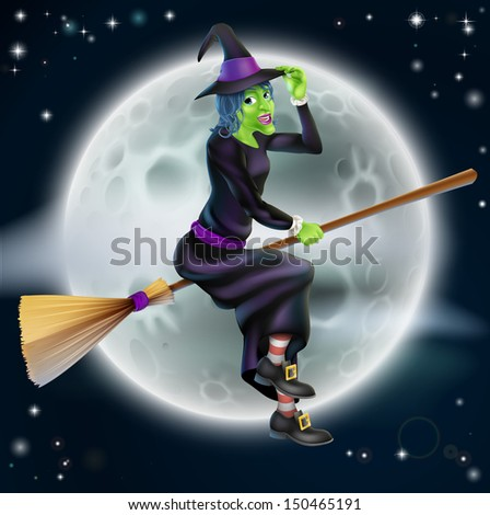 A cartoon Halloween witch character flying in front of a big full moon - stock vector