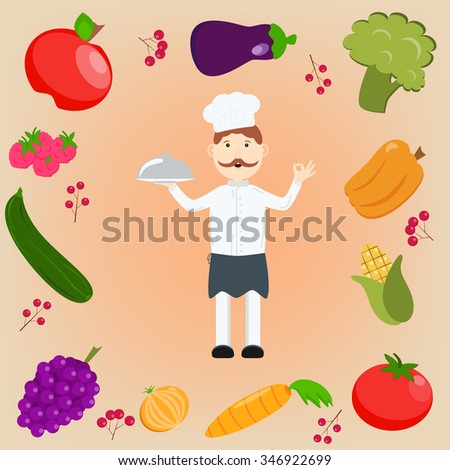 A cartoon happy chef character holding a platter or cloche and giving an okay or perfect chef gesture. Set of fruits and vegetables. - stock vector