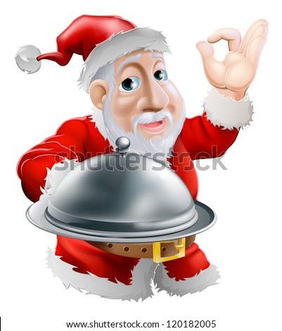 A cartoon happy Santa  doing a chef's perfect sign with his hand and holding a covered metal plate of food - stock vector