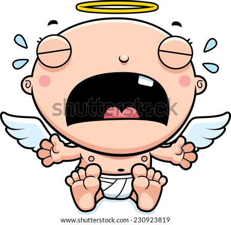 A cartoon illustration of a baby angel crying. - stock vector