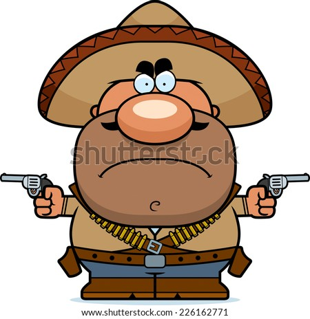 A cartoon illustration of a bandito looking angry. - stock vector