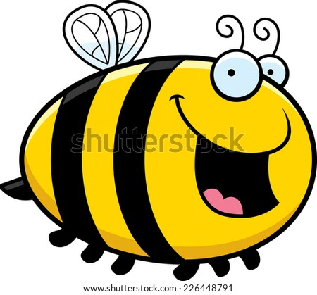 A cartoon illustration of a bee smiling. - stock vector