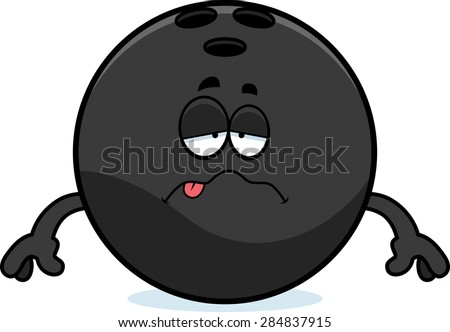 A cartoon illustration of a bowling ball looking sick.
