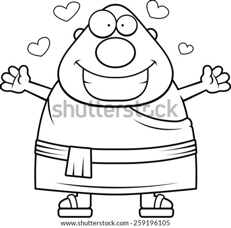 A cartoon illustration of a Buddhist monk ready to give a hug.