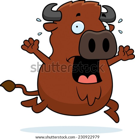 A cartoon illustration of a buffalo running in a panic.