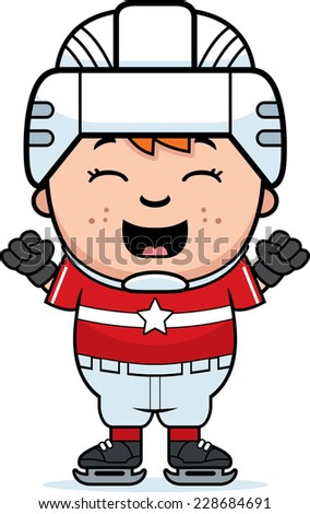 A cartoon illustration of a child hockey player celebrating.