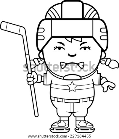 A cartoon illustration of a child hockey player looking angry. - stock vector