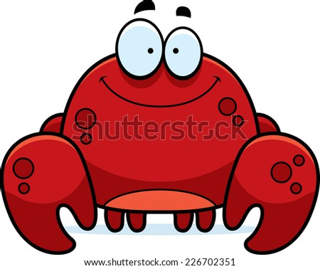 A cartoon illustration of a crab smiling. - stock vector