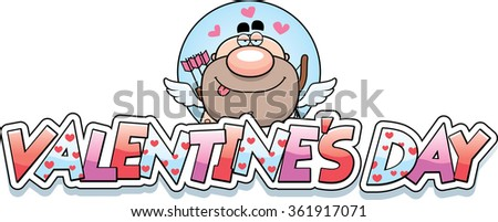 A cartoon illustration of a cupid in a Valentine's Day themed graphic. - stock vector