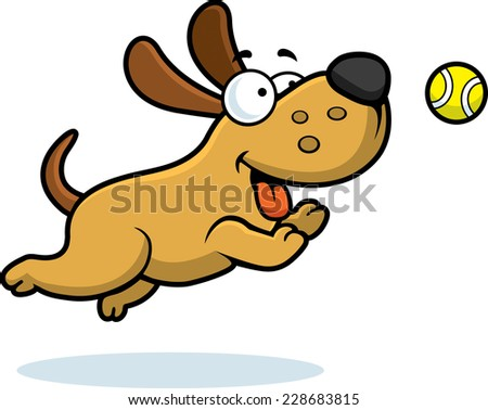 A cartoon illustration of a dog chasing a ball. - stock vector