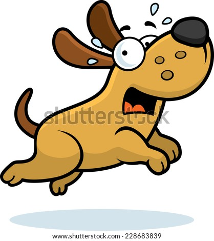 A cartoon illustration of a dog running away scared. - stock vector