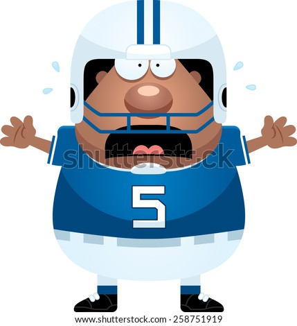 A cartoon illustration of a football player looking scared. - stock vector